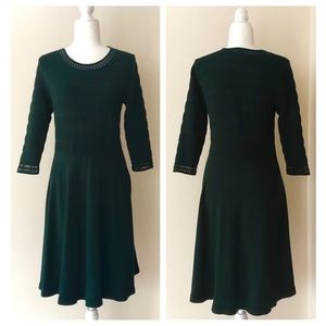 Spruce green knit fit and flare sweater dress